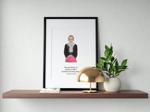 Justice Ruth Bader Ginsburg, Empowering and Inspiring Women Art Print