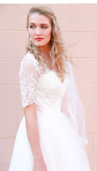Fingertip Length Lace Edged Wedding Veil