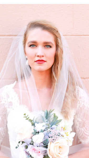 Ivory Fingertip Wedding Veil with Raw Cut Edge