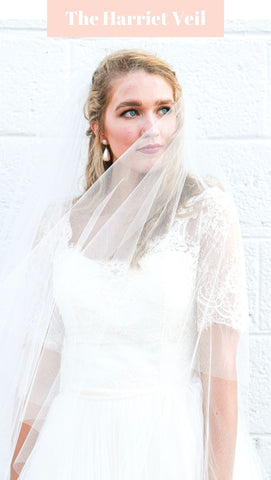 The Harriet Veil- Raw Cut Ivory Cathedral Wedding Veil with Blusher