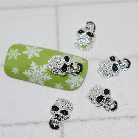 Black Skull Nail Decorations - 10psc