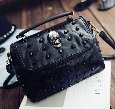 Black Skull Rivet Bag