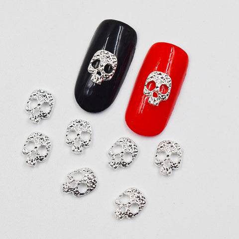 Silver Skull 3D Nail Decorations - 10psc