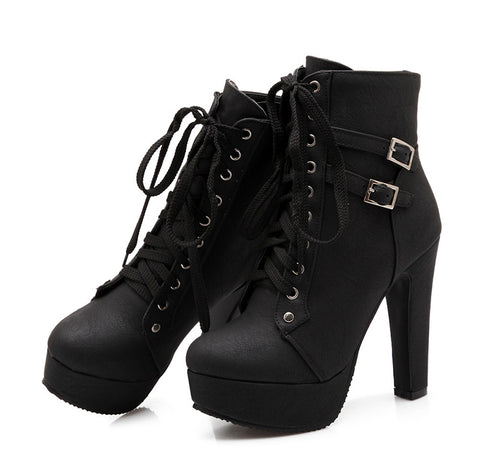 High Ankle Boots Laces-Buckle