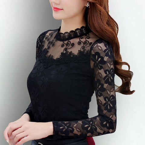 Sexy Slim Shirt Tops Lace Long Sleeve O-Neck