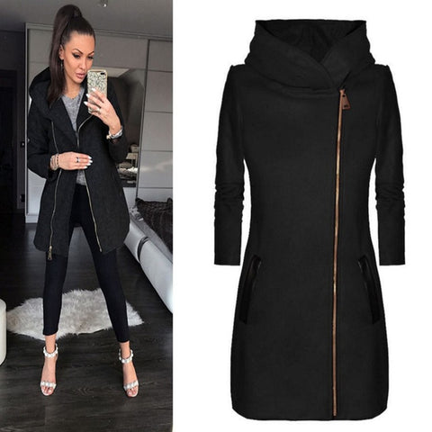 High Collar Hooded Coat Jacket