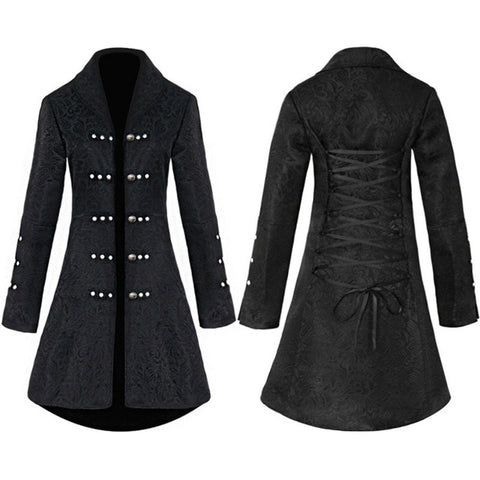 Black Flocked Gothic Coat