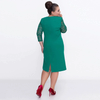 Plus Size - Three Quarter Sleeve Dress with Lace