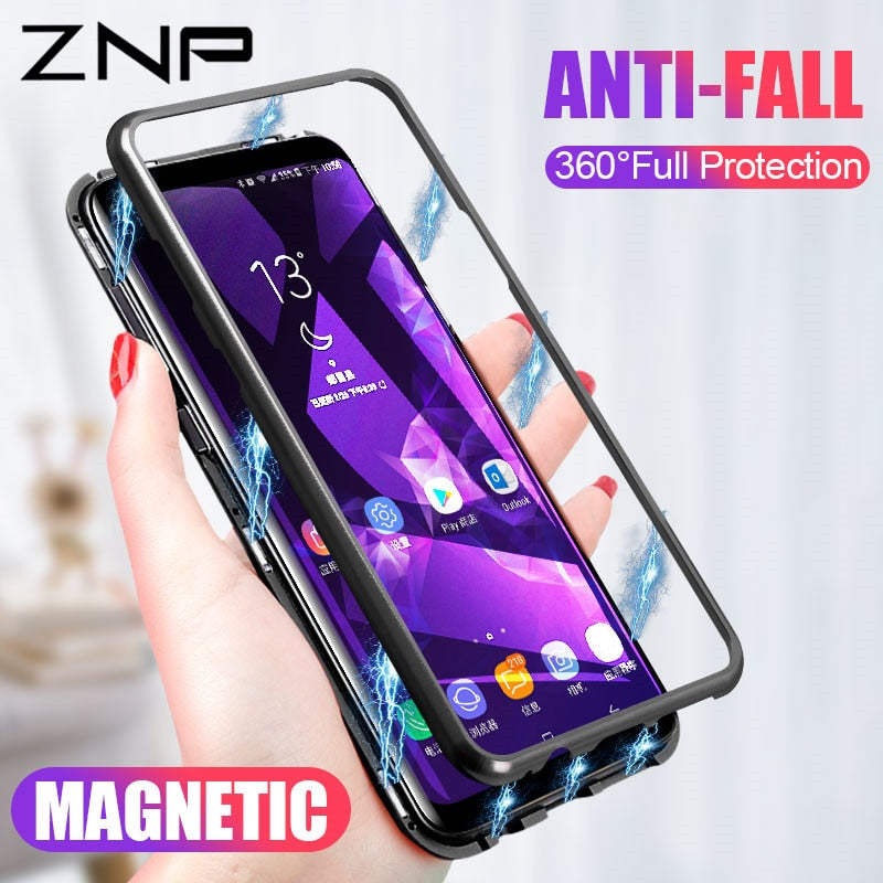 on sale 700a0 e1f50 Magnetic Absorption Metal Case for Samsung s8 s9 Magnet Magnetic phone Case  for Samsung galaxy note 8 9 s7 edge s8 s9 plus