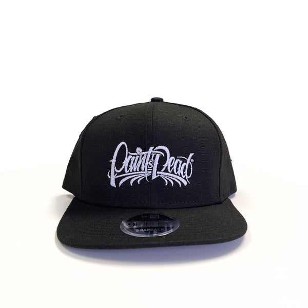 "Snapback Hat with White ""Paint Is Dead"" logo - Paint is Dead Merchandise"