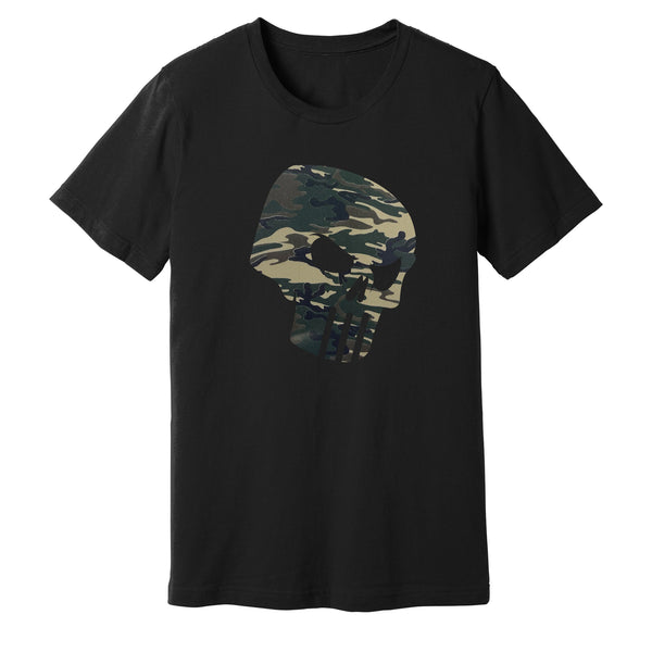 CAMO SKULL T SHIRT - Paint is Dead Merchandise