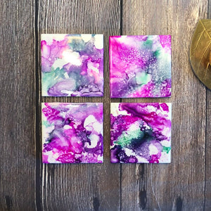 Alcohol Ink Coasters | Set of 4, Ceramic