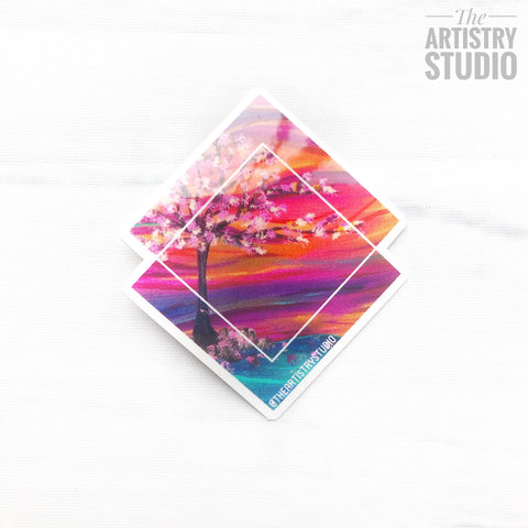 "Cherry Blossom Sticker | 2"" x 2.5"""