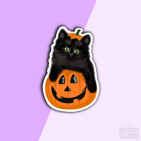 Pumpkin Kitten Sticker | 1.9x2.9