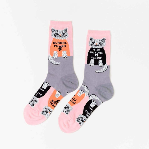 Women's Crew Socks Future is Feline/Grrrl Power