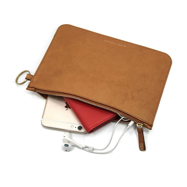 2.0 Large Zipper Pouch (Oiled Saddle)