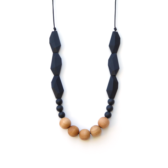 Wood & Silicone Necklace - Midnight Black