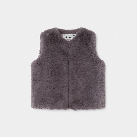 Faux Fur Vest Grey