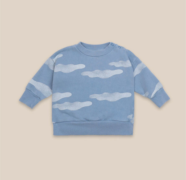 Round Neck Sweatshirt - All Over Clouds