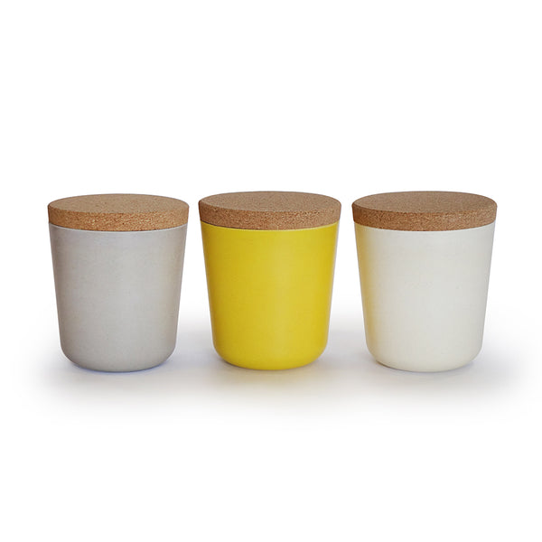 Claro Large 16oz. Storage Jar Set (Stone/White/Lemon)