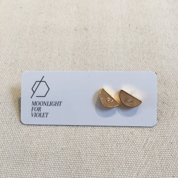 Brass & Clay Half Moon Studs - Various