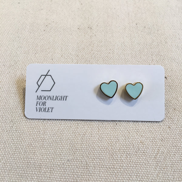 Brass & Clay Heart Studs - Various