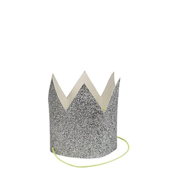 Silver Glitter Crowns - Set of 8