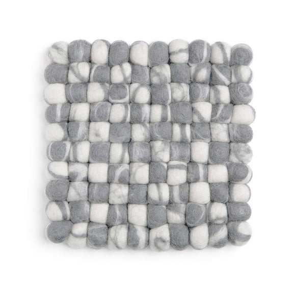 Square Felt Stone Ball Trivet/Coaster - Grey