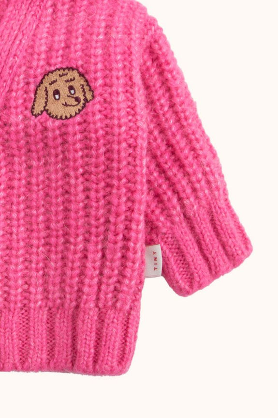Chunky Knit Cardigan Bubble Gum
