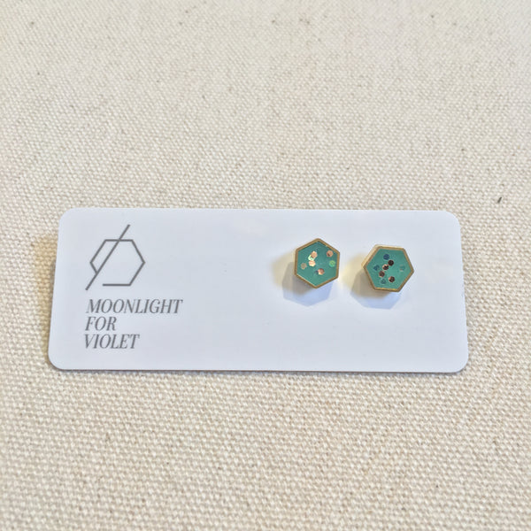 Brass & Clay Hexagon Studs - Various