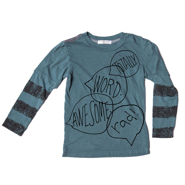 Word Bubble Print Top (Teal)