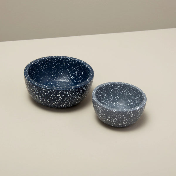 Speckled Cement Nesting Pinch Bowls Set, Midnight & Slate