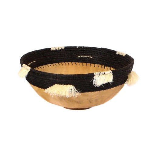 Wooden Bowl - Fringed Black