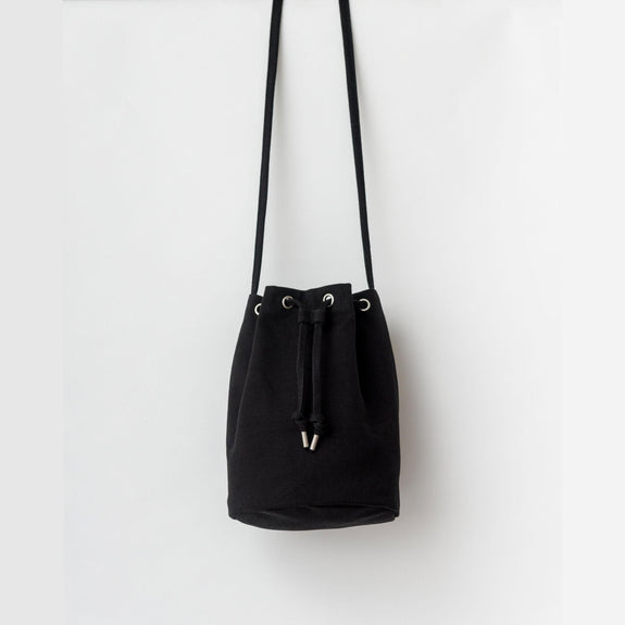 Black Canvas Drawstring Purse