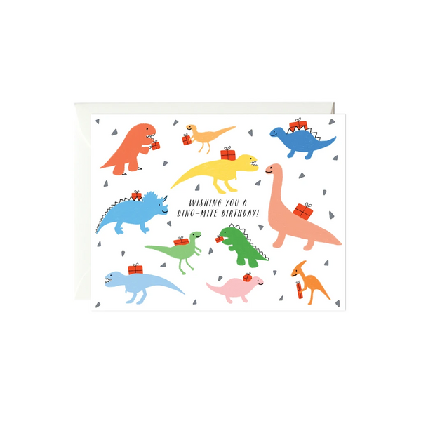Colorful Dinos Birthday Card