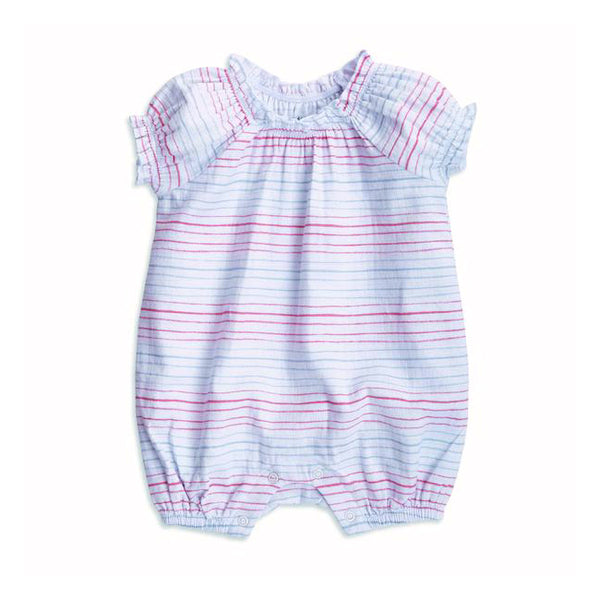 Gathered Romper - Tiny Stripe