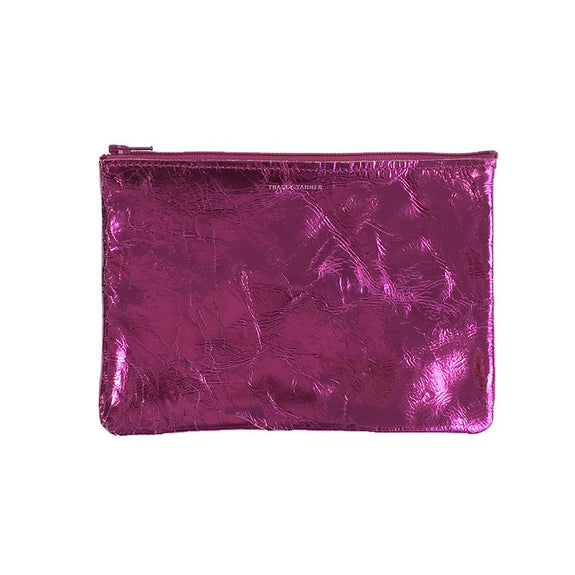 Flat Zip Pouch Medium (Foil Hot Pink)