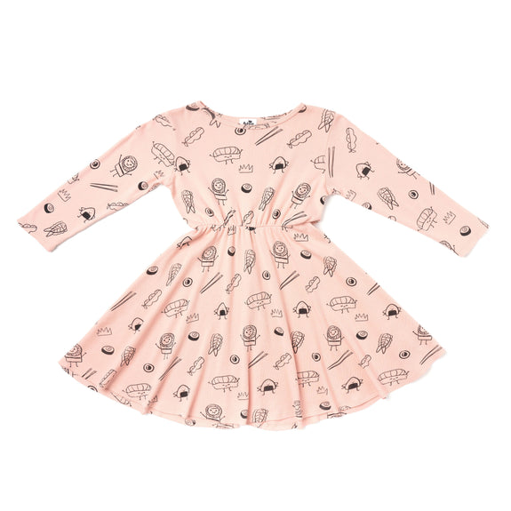 Sushi Print Skater Dress LS Blush