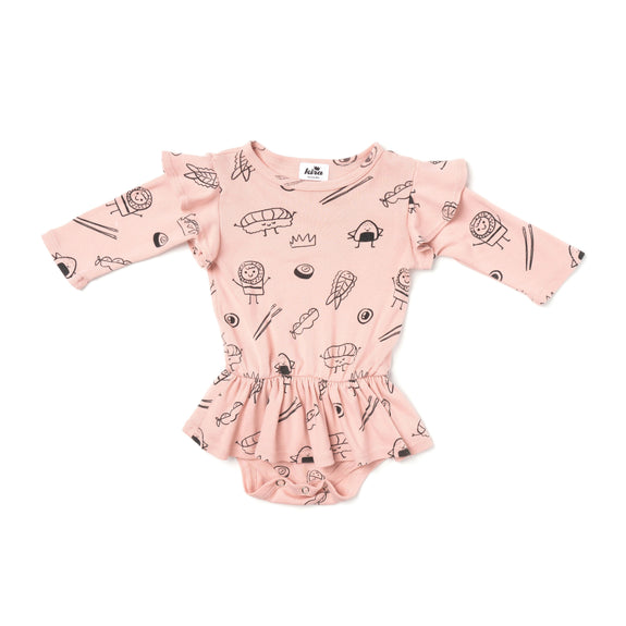 Sushi Print Dress Onesie LS Blush