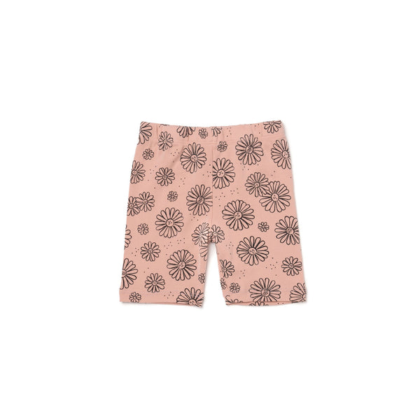 Bike Shorts - Daises - Blush