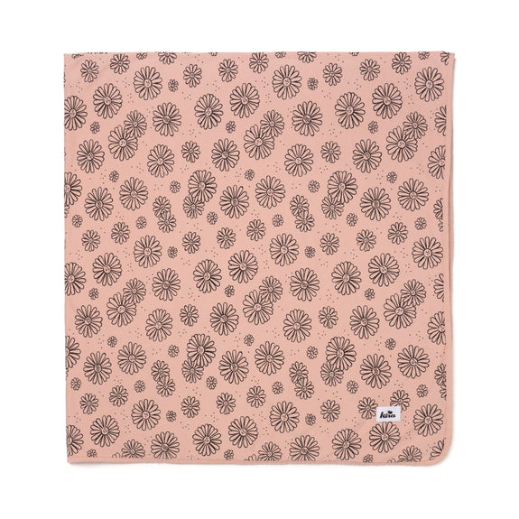 Swaddle Blanket - Daises Print - Blush