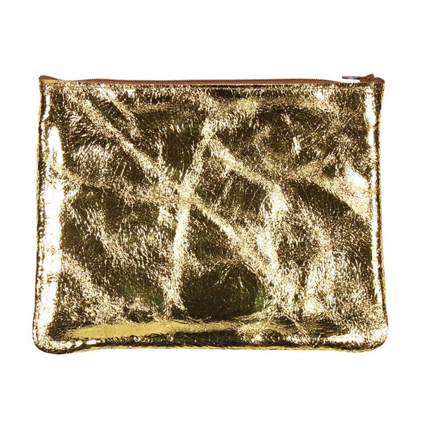 Flat Zip Pouch, Large (Gold Foil)