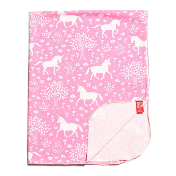Lightweight Jersey Baby Blanket - Magical Forest Pink