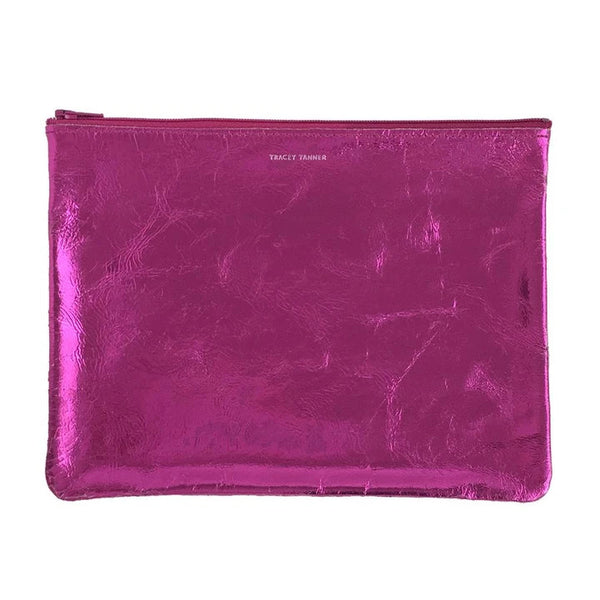 Flat Zip Pouch, Large (Foil Hot Pink)