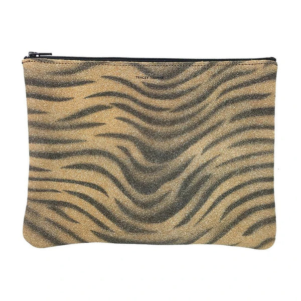 Flat Zip Pouch, Large (Sparkle Tiger)