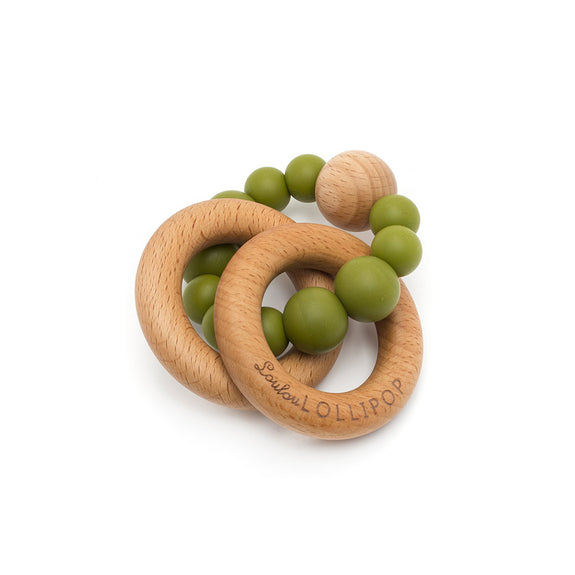 Bubble Silicone and Wood Teether - Olive Green