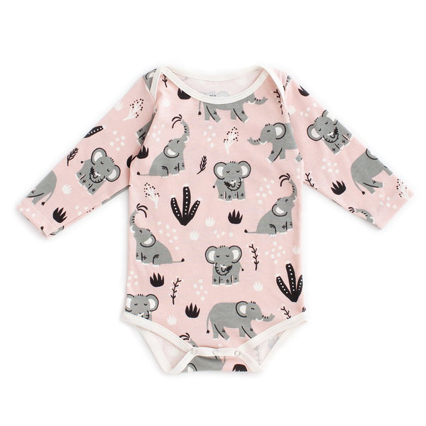 Long Sleeve Snap Suit - Elephants Pink