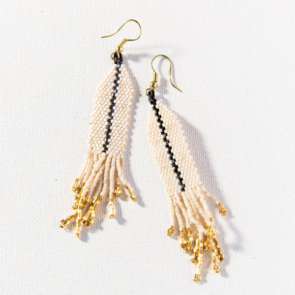 Ivory With Black Luxe Single Stripe With Fringe Earring