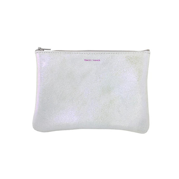 Flat Zip Pouch, Medium (Sparkle Opal)