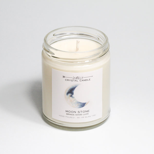 Moonstone Crystal Candle  Brings - Good Luck